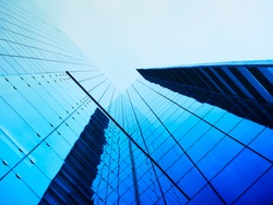 Modern building Glass facade Architecture detail perspective Business background