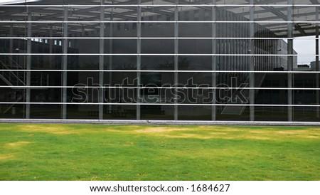 modern building glass wall, futuristic design, Japan