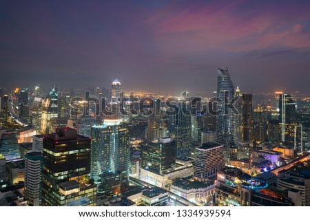 Bangkok Cityscape twilight, Business district with high