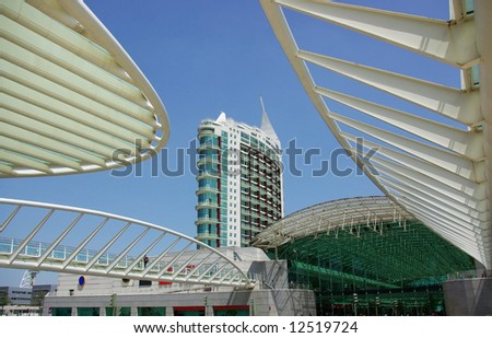 Modern building in the eastern zone of Lisbon. - stock photo
