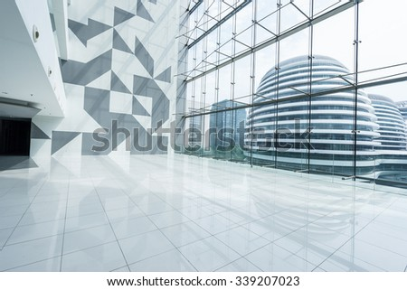 modern building interior and view of building through window #339207023