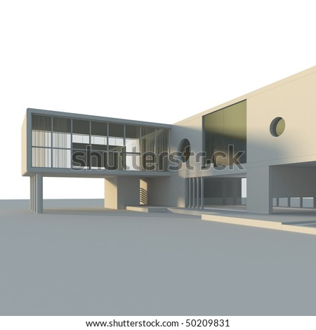 Modern building isolated. High quality 3d render