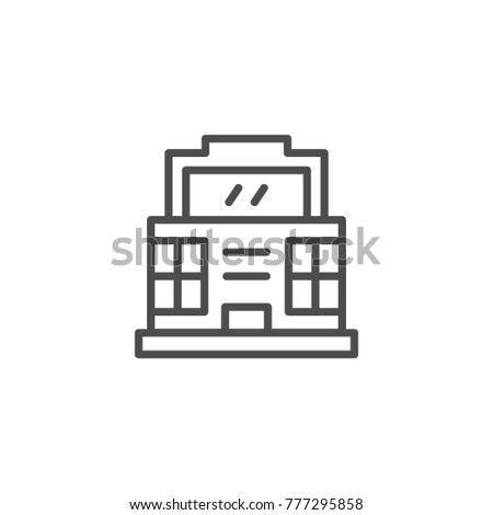 Modern building line icon isolated on white