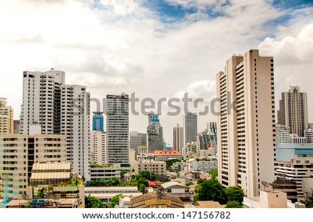 Modern building on blue sky background
