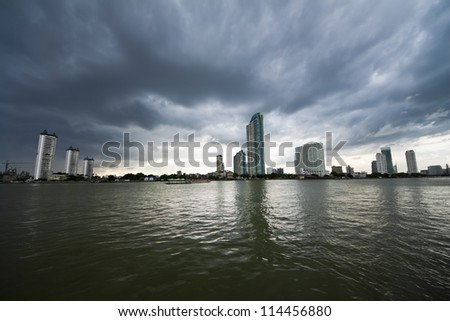 Modern Building on The Riverside of Chaopraya River , Bangkok Thailand
