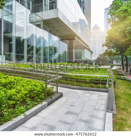 modern building outdoors with green lawn #475762612