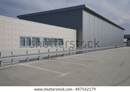 Modern building roof and parking #487562179