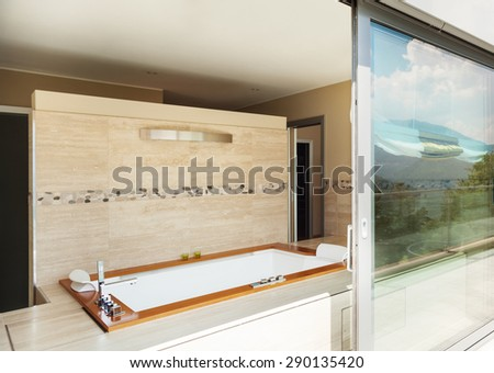 modern building, view bathroom with jacuzzi from the terrace #290135420
