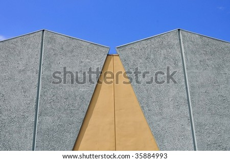 modern building with blue sky and room for copy space
