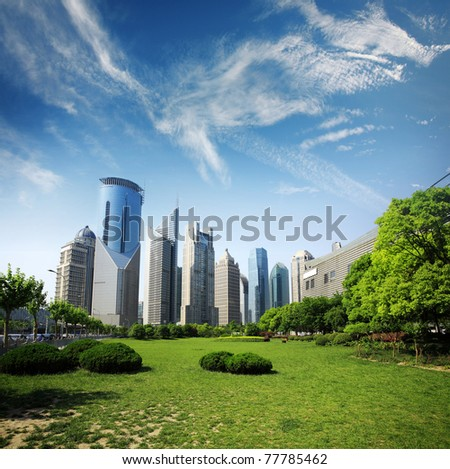 modern building with cloud