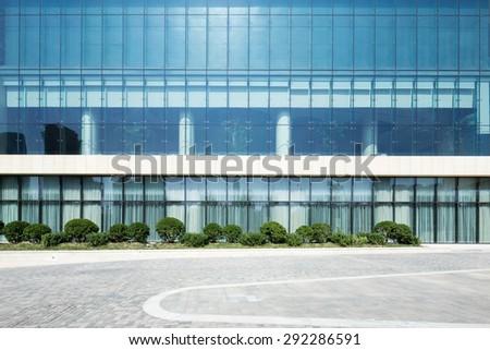 modern building with empty road floor