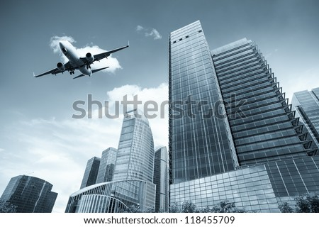 modern building with scheduled flight in shanghai