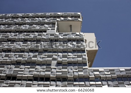 Modern building with square shutters in Lisbon Portugal
