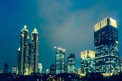 Modern buildings along Jakarta main artery, Jalan Thamrin, Indonesia.