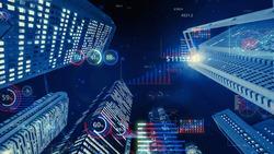 Modern buildings and financial charts. Financial technology. FinTech. Data analytics.