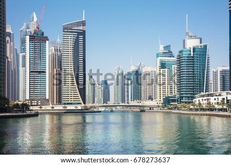 Modern Buildings At Marina District In New Dubai, UAE #678273637