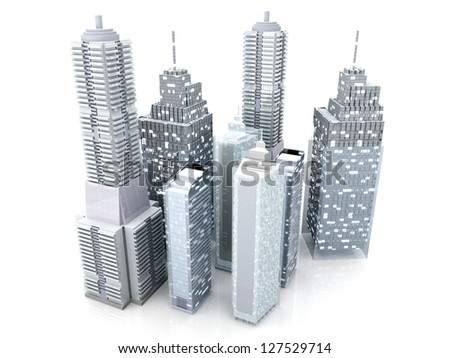 Modern buildings forming a city. 3D rendered Illustration.