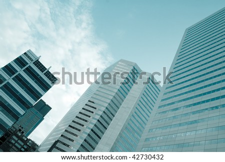 Modern buildings in cold tone