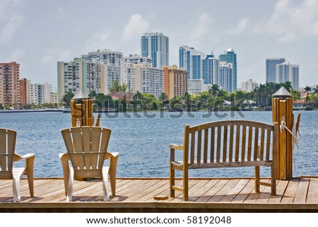 Modern buildings in Hollywood Florida. View from a wooden boat dock