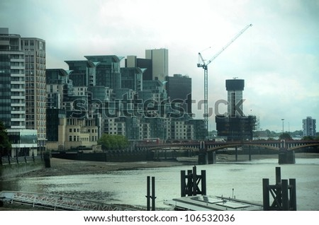 Modern buildings in London near the river Thames