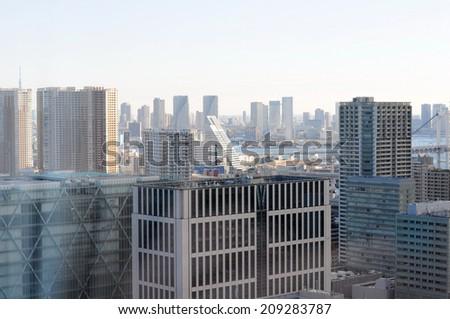 Modern buildings in Osaka Japan in the morning.