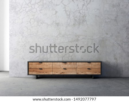 Modern bureau or tv console mockup in empty living room with concrete wall, 3d rendering