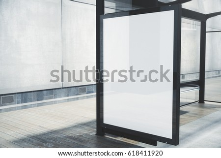 Modern bus stop with blank white poster. Close up, Mock up, 3D Rendering