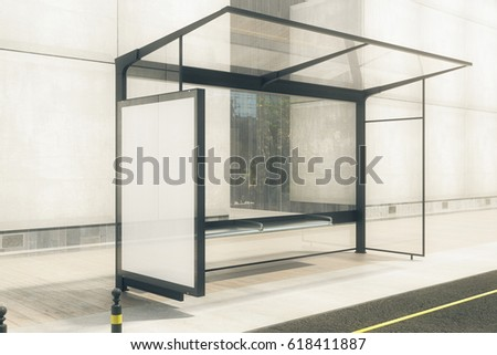 Modern bus stop with blank white poster. Toned image. Mock up, 3D Rendering