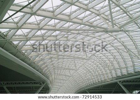Modern business architecture with steel and glass roof