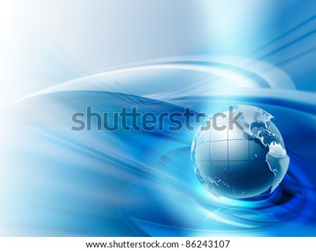 modern business background with the planet on a blue background