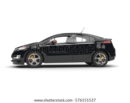 Modern business black car - side view - 3D Illustration