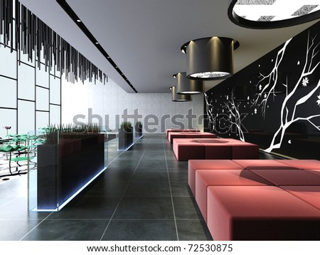 Modern business hall design interior - stock photo