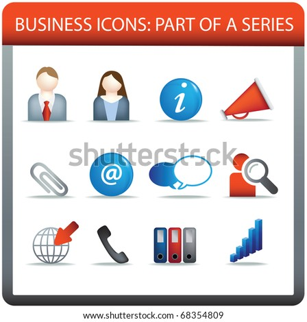 modern business icon set of illustrations in colour