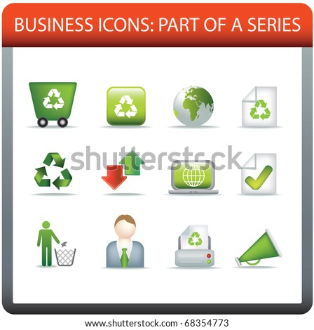 modern business icon set of illustrations representing conservation and recycle and eco themes