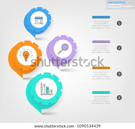 Modern business infographic template, backdrop with modern graph, four steps, simple line icons, isolated on bright background, for infographics, presentations, documents #1090534439