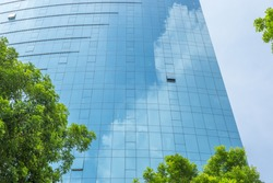 Modern business office building with blue glass wall reflection detail of blue sky and green tree branches.