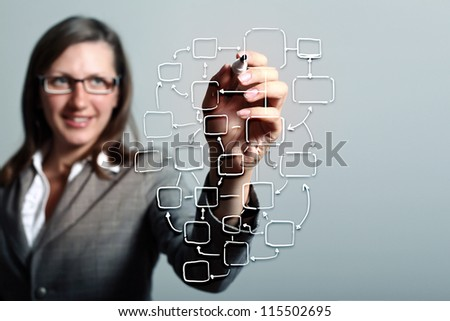 Modern Business World, A businessman navigating virtual world map - stock photo