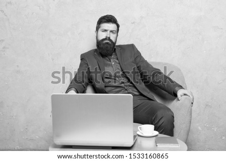 Modern businessman. Businessman work laptop. Man drink coffee in business office. Responding business email. Digital marketing. Surfing internet. Buy online. Project manager. Business correspondence.