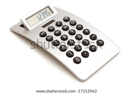 modern calculator on white background - stock photo
