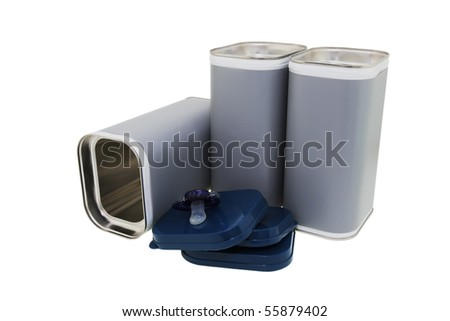 Modern cans for dairy drink powder.