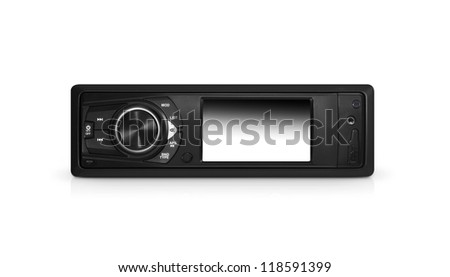 Modern car audio system isolated with clipping path over white