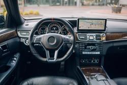 Modern car dashboard and interior