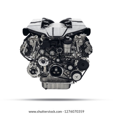 Modern Car Engine Isolated on White Background #1276070359