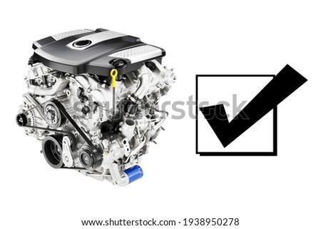 Modern Car Engine Isolated on White Background. Side View of V6 Car Motor. Six-Cylinder Car Engine. Internal Combustion Engines. Car Motors. Twin-Turbo V6 Engine