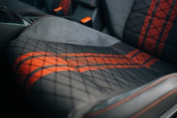 Modern car fabric sport seats with red stripes
