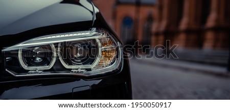 Modern car headlight close up photo Stock foto ©