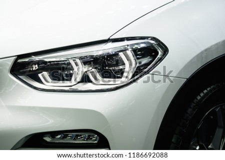 Modern car headlights.Led car headlights. #1186692088