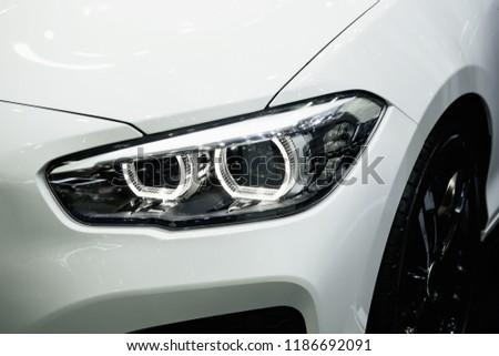 Modern car headlights.Led car headlights. #1186692091