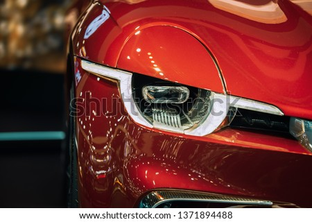 Modern car headlights.Led car headlights. stock photo