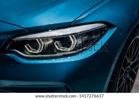 Modern car headlights.Led car headlights. #1417276637